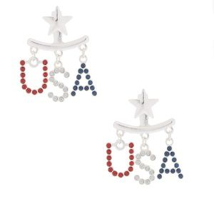 FREE! NWT Red Dangle USA Patriotic Earrings